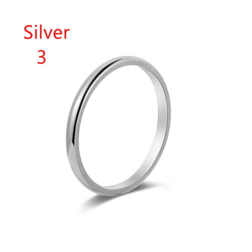 2mm Thin Stackable Ring Stainless Steel Plain Band for Women Girl Size 3-10 Nice