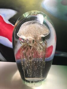 Vintage-Glass-Paperweight-Jellyfish-Sculpture-Large-Brown-Italian