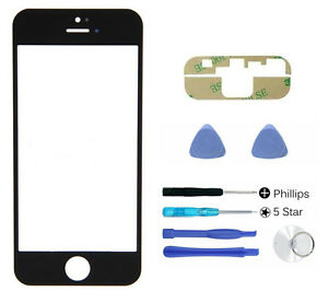 Black-front-glass-lens-screen-replacement-For-iphone-5-5S-5C-SE-Adhesive-Tool