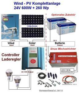 windkraft 24v 600w pv anlage 260wp bausatz. Black Bedroom Furniture Sets. Home Design Ideas