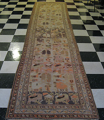 "Antique Turkish Ushak / Oushak Rug Runner Size 14'.4"" x 3'.3"" Carpet"