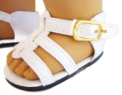 "Doll Clothes 18/"" Shoes Sandal Braided White Arianna Fits American Girl Doll"