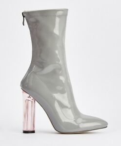 79fad45723 40 BEBO GREY PATENT HIGH PERSPEX HEEL SLIM LEG ANKLE BOOTS SIZE 3 4 ...
