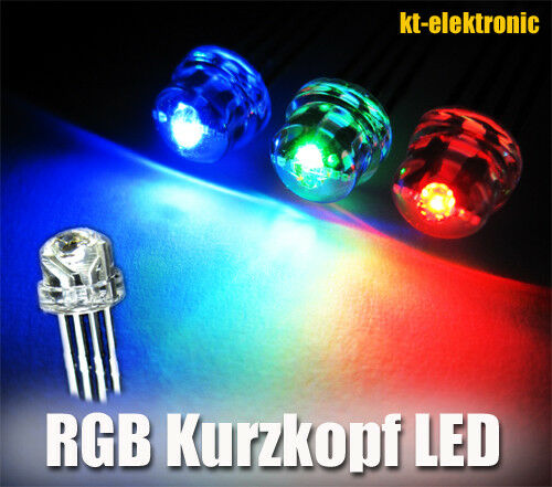 4-pin escindido 25 unidades LED 5mm RGB - Gem minus 110 ° cabeza plana cabeza corta
