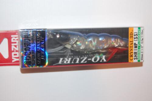 "3 lures yo zuri shrimp crystal 3d jerkbait f988-hpb 3 1//2/"" 7//16oz pearl blue"