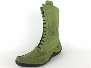 Greenfield-Stiefeletten-gruen-Nubuk-Leder-komfort-Wechselfussbett-Gr-40-UK-6-5
