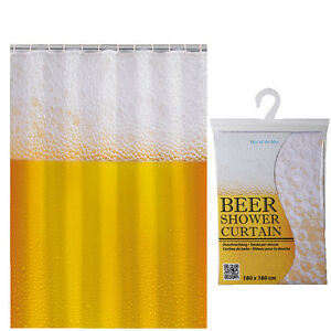Image Is Loading 180CM BEER SHOWER CURTAIN NOVELTY BATHROOM FUN GIFT