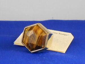 Fossil-Brand-Polished-Goldtone-Vintage-Revival-Tiger-039-s-Eye-Ring-7-JA5700-58