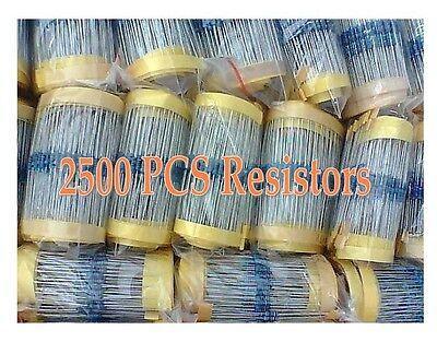 5000pcs Metal Film Resistors 1% 1/4W Assorted kit 50 Values 100pcs per values