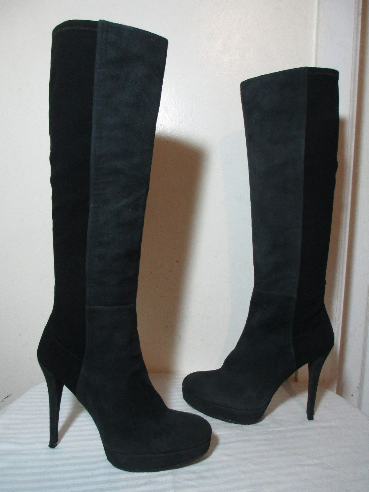 $695 STUART WEITZMAN 50/50 BLACK SUEDE PULL ON HIGH HEEL TALL BOOTS SZ 9½ M