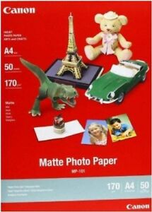 A4 170g//m2 Matte Photo Paper 1 Pack of 50 Sheets White Canon MP-101