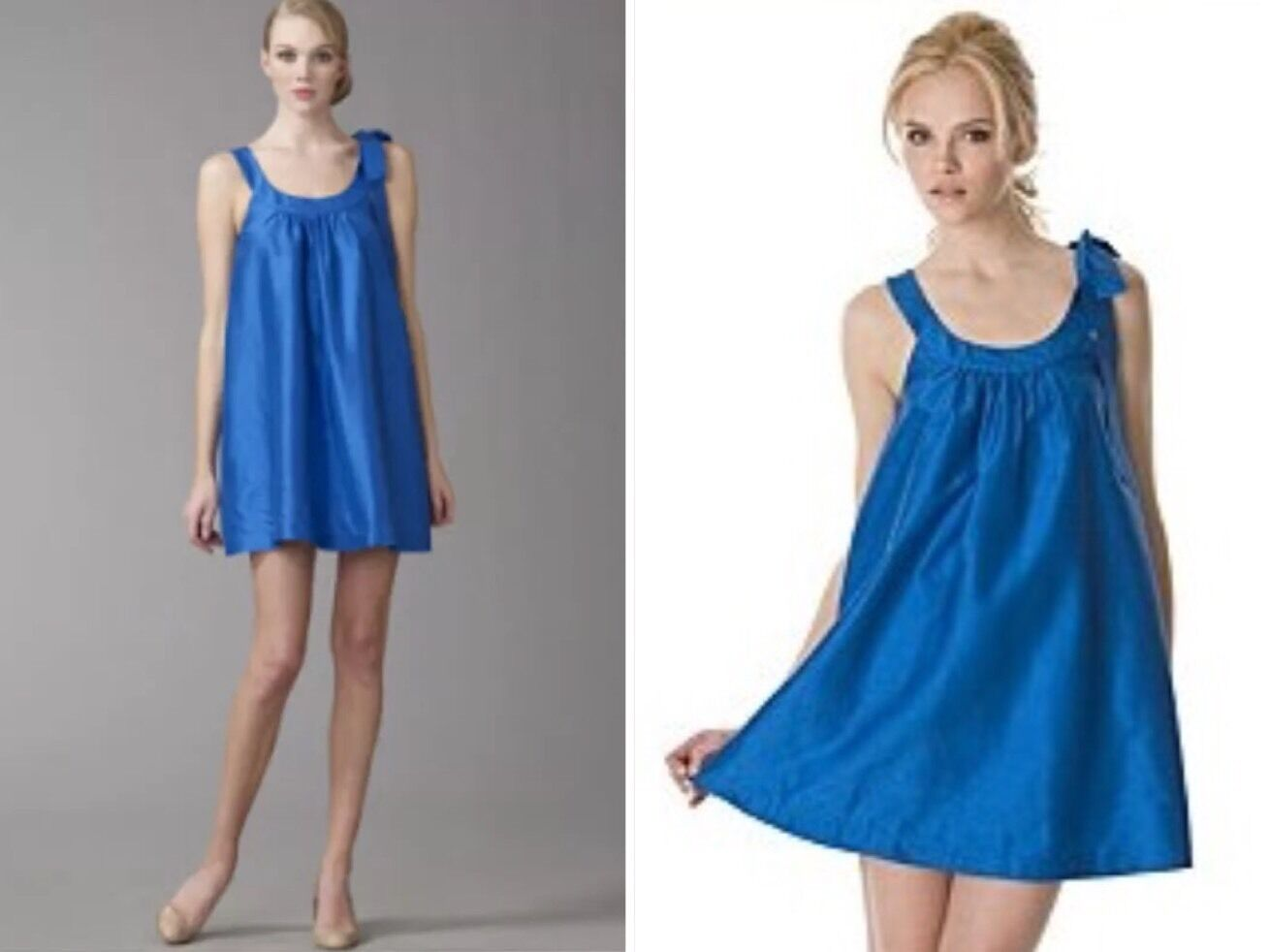 NWOT THEORY Steffen  100% SILK Lagoon bluee Halter Dress Size 0 Retail