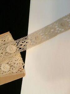 Antique-Bobbin-Lace-Trim-Edging-Sewing-Costume-Doll-6-Yards-Yardage