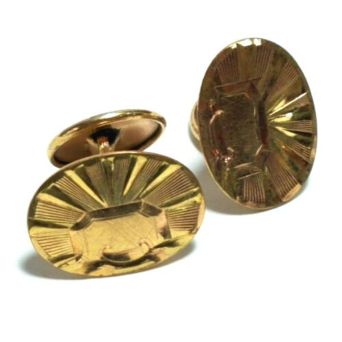 Antique Gold Filled Cufflinks Art Deco Oval Etched