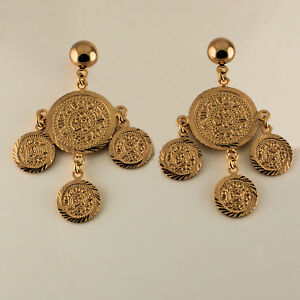 18ct-Yellow-Gold-Filled-Chandelier-Round-Multi-Disc-Dangle-Drop-Earrings-UK-137