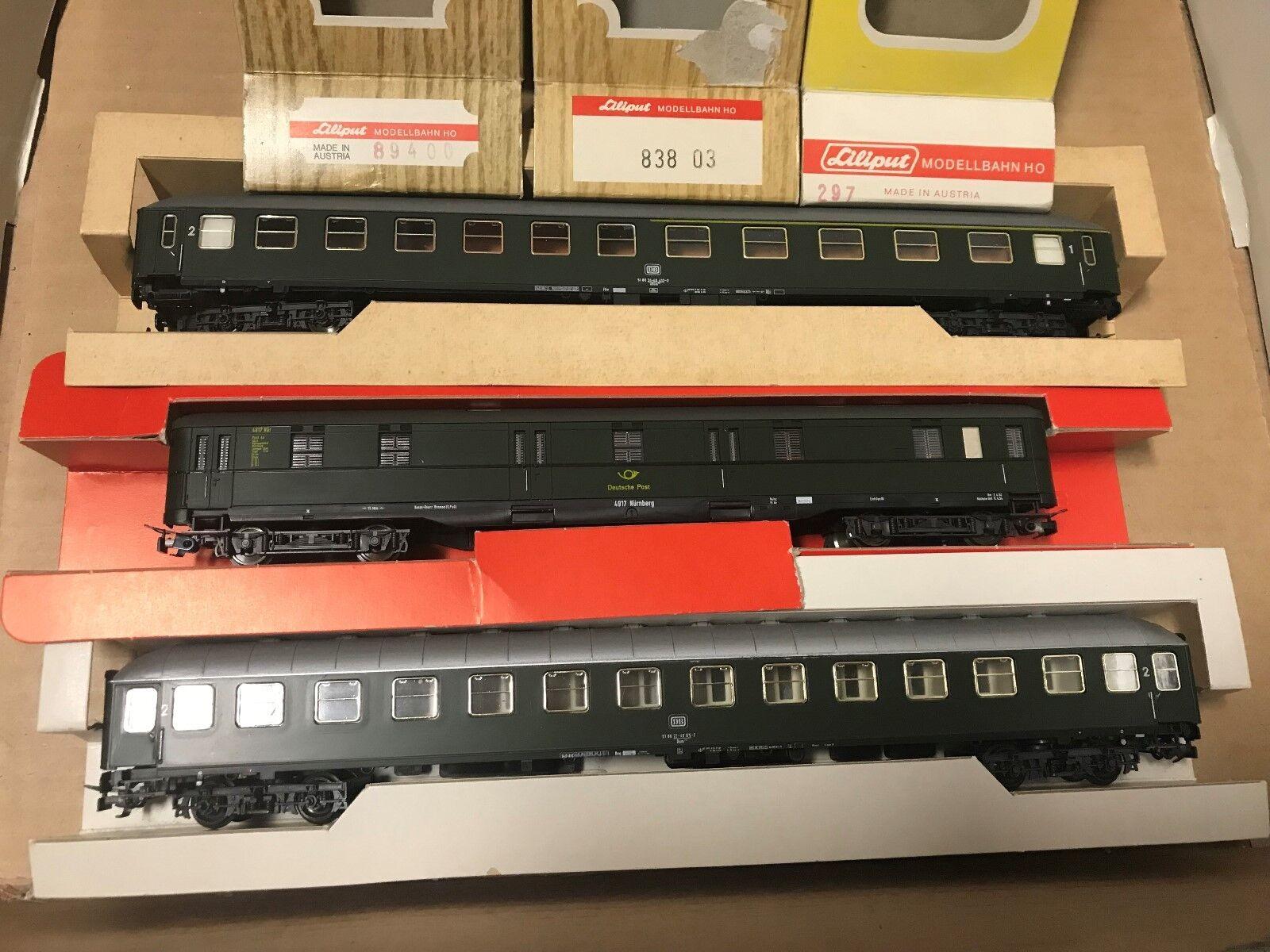 Liliput HO 297 83803 89400 2 x vetture passeggeri + carro Pack della DB OVP