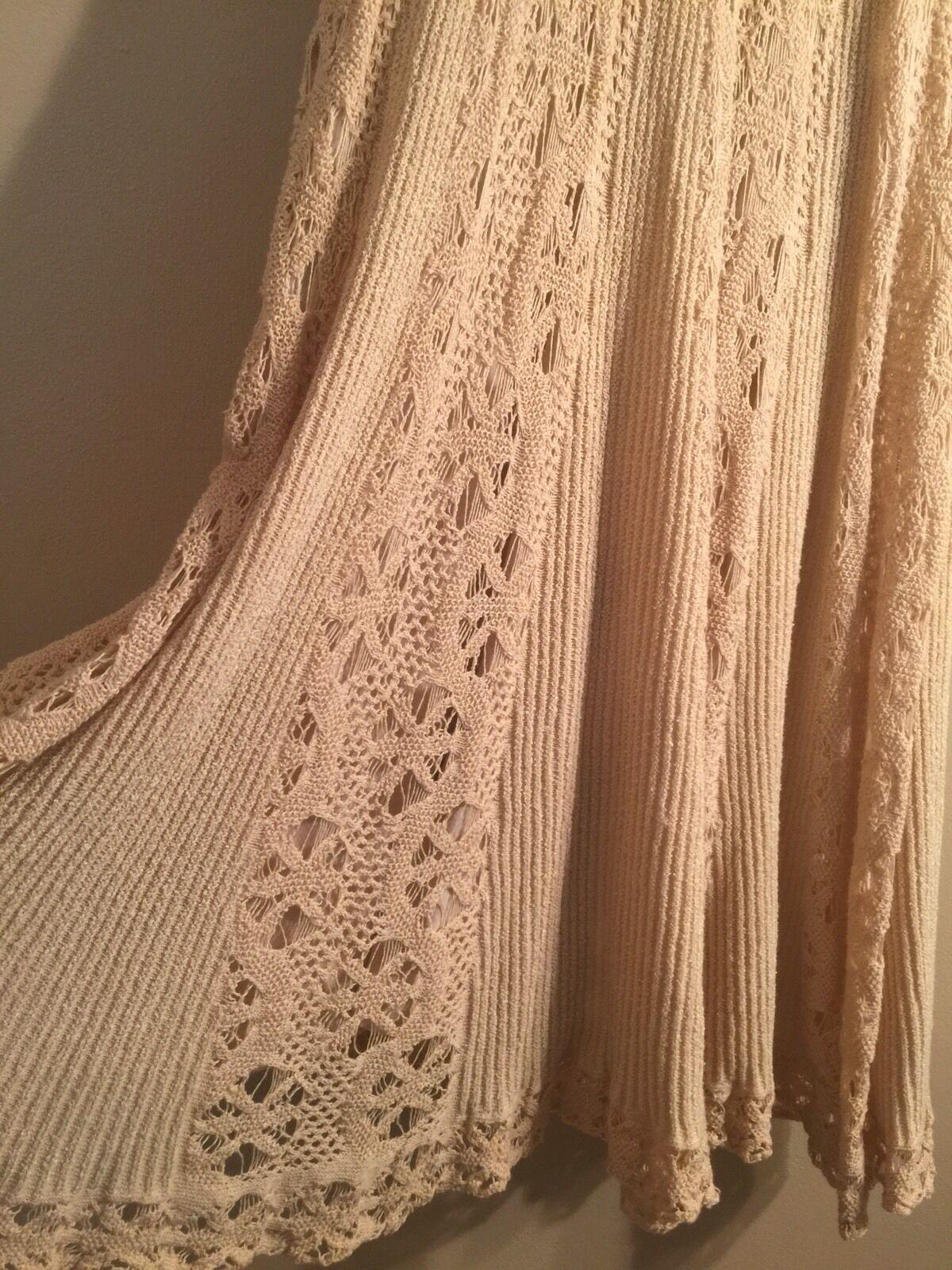 NEW Women's MOTH Anthropologie Beige Knit Knit Knit CROCHETED CLOUDS Sweater DRESS XS RARE 351159