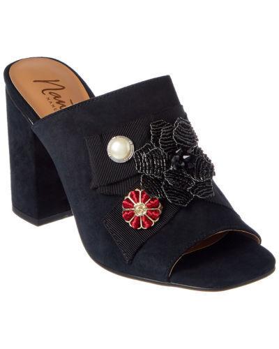 109 size 8 Nanette Lepore Marsha Black Suede Heel Slide Mules Womens Sandals
