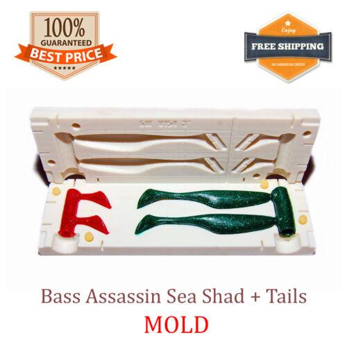 "Bass Assassin Sea Shad Tails 2-cavity Fishing Bait Mold DIY Lure 75 mm 3/"""