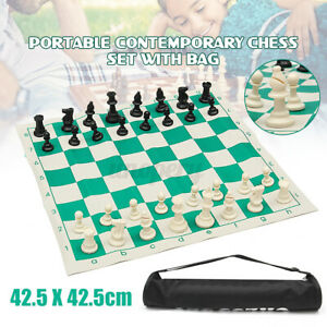 Portable-Tournament-Chess-Set-Travelling-Plastic-Pieces-And-Roll-Board-With