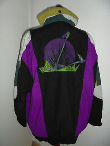 vintage-80-s-ETIREL-Nylon-Jacke-Sportjacke-Schulterpolster-90er-oldschool-42-M