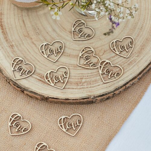 Rustic Country Wedding Decoration 24 peices Wooden Love Heart Table Confetti