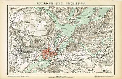 Historische Karte Potsdam.Karte Potsdam Und Umgebung 1895 Original Graphik Ebay
