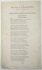 SCARCE BROADSIDE BALLAD Right Hon Sir William Scott POETRY James Townley 1799