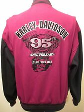 HARLEY DAVIDSON LETTERMAN JACKET Size M Motor Cycle Biker Maroon Wool Rayon Coat