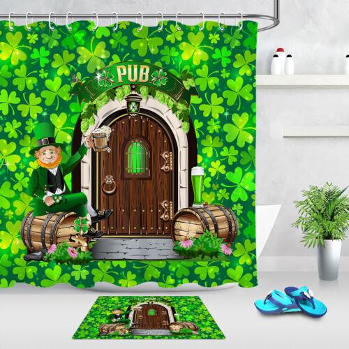 "71/"" St Patrick/'s Day Green Clover Pub Fabric Shower Curtain Set Bathroom Decor"
