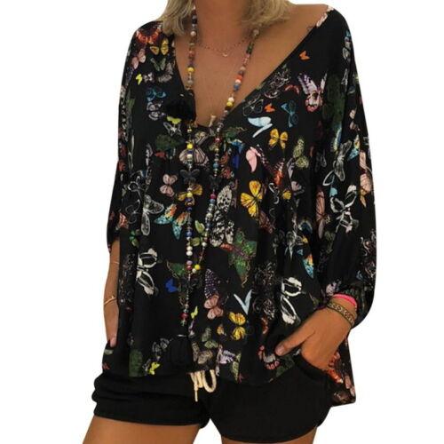 Damen Langarm Bluse Shirt Schmetterling Oberteile Tops Pullover Tunika Boho JO