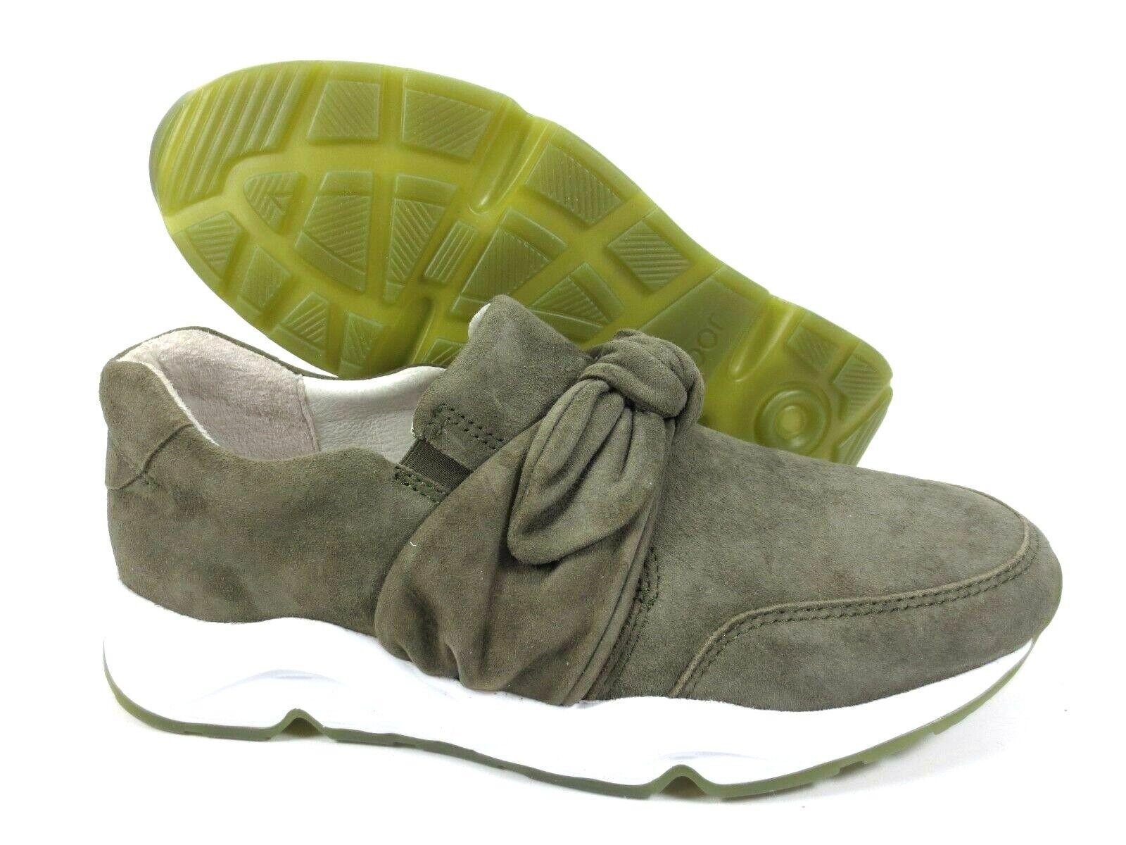 Gabor Comfort scarpe da ginnastica Slipper Scarpe in Pelle verde Oliva Larghezza G NUOVO UVP 134,95