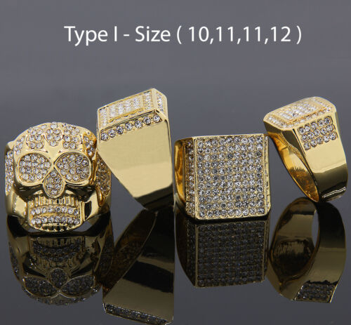 2 Mens 14K Gold Plated Hip Hop Iced Out Cz 4 Rings Bundle Size 7 8 9 10 11 12