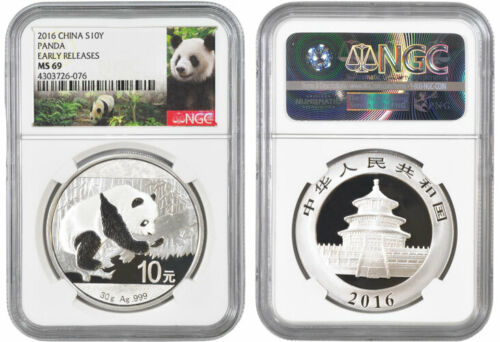 2016 CHINA 30 GR SILVER PANDA NGC MS 69 EARLY RELEASE LOT OF 10