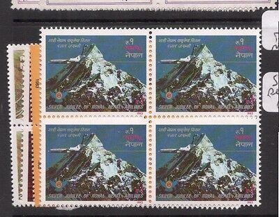 7ddx Jade White Friendly Nepal Sg 278-81 Mountain Blocks Of 4 Mnh