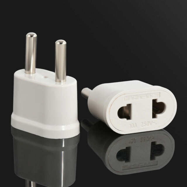 Us Usa To Eu Europe Charger Wall Ac Plug Adapter Converter Travel White