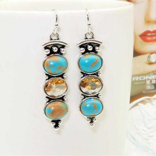 Women Bohemian Turquoise Long Dangle Drop Stud Earrings Jewelry 6A