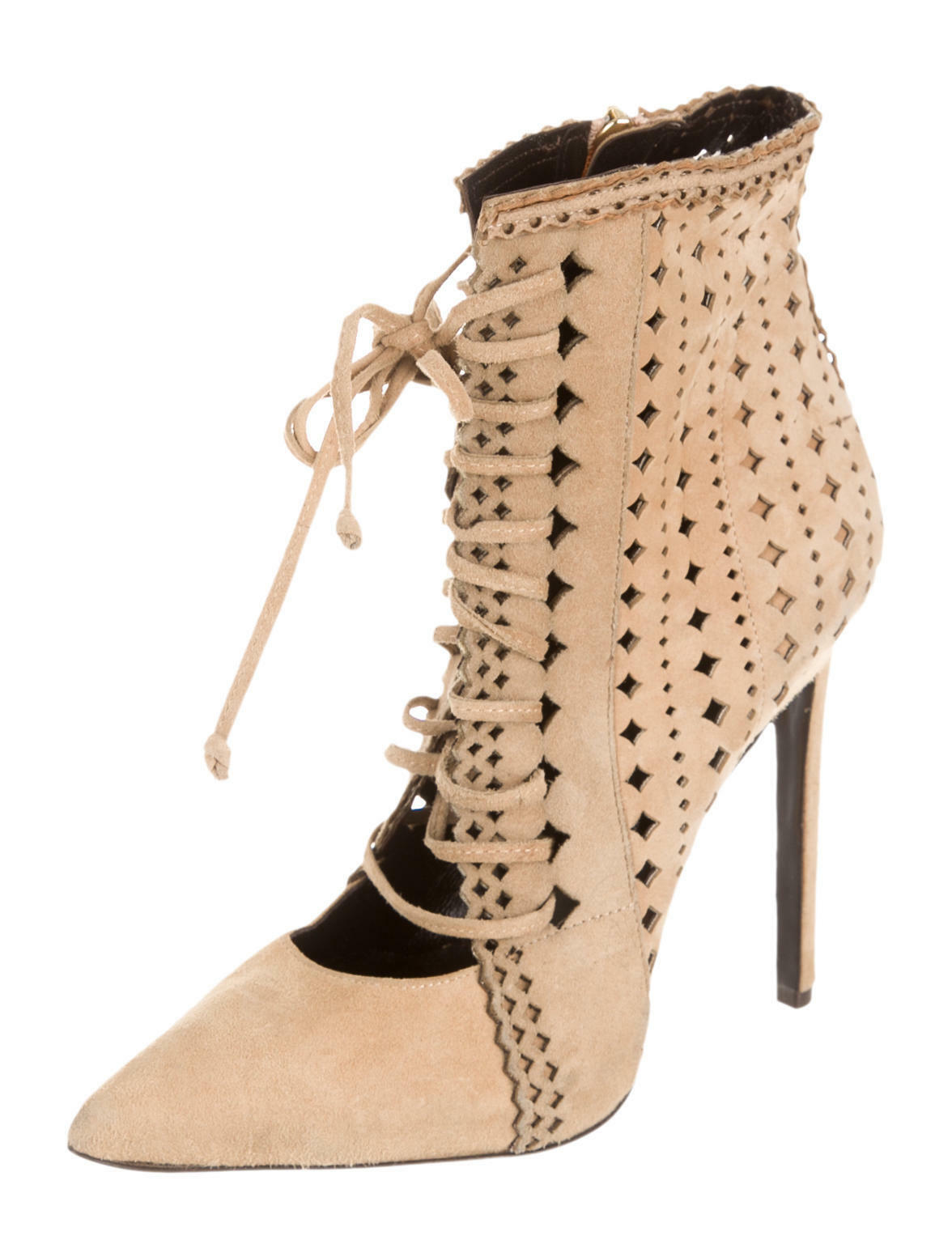 SPECTACULAR, SOLD OUT, NEW  2,300 ROBERTO CAVALLI LASER CUT SUEDE ANKLE BOOTS