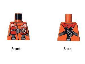 Lego 10x Torso Oberkörper ohne Arme Minifigur Pilot Taucher orange Neu