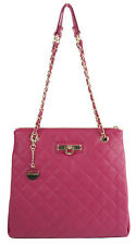 NWT DKNY Donna Karan Cherry Quilted Nappa Leather Convertible Shopper Tote