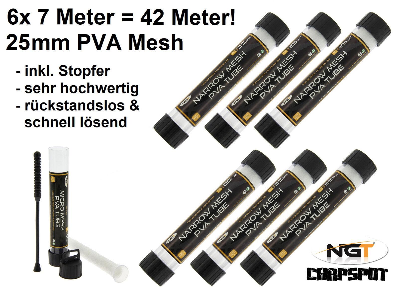 PVA Mesh Netz - 42 Meter Set Tube in 25mm inkl Stopfer PVA Beutel Karpfen Futter