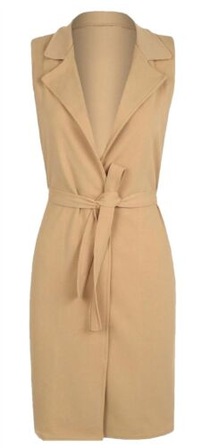 Ladies Sleeveless Belted Crepe Open Jacket Duster Coat Women Collared Waistcoat