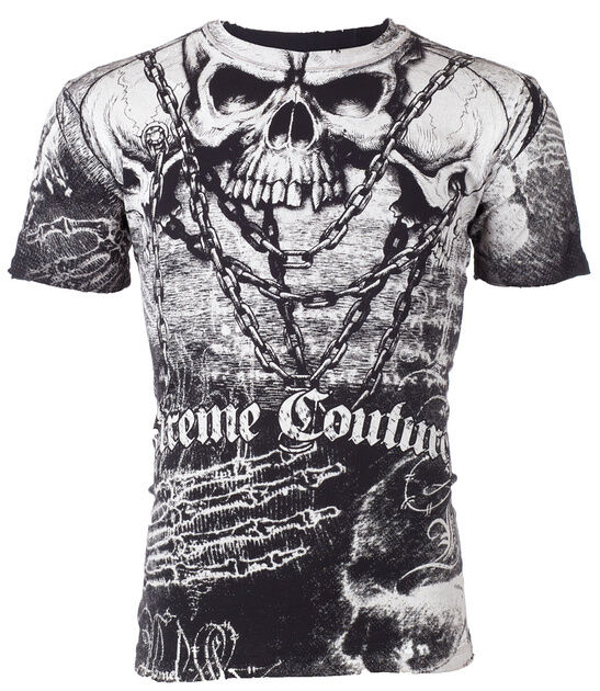 Xtreme Couture AFFLICTION Mens T-Shirt KILLER Skull BLK WHT Tattoo Biker UFC $40