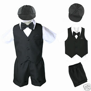 1a0822f4f New Black Baby Boy   Toddler Summer Formal Vest shorts Suit S M L XL ...
