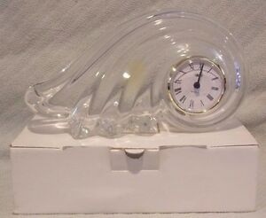 10-25-034-Mikasa-Quartz-Clock-Clearwater-Wave-Austrian-Lead-Crystal-Made-In-Germany