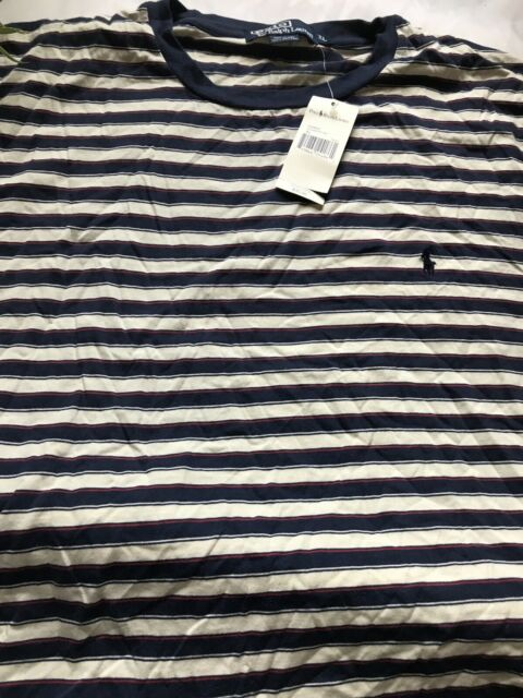 Polo Ralph Lauren Mens Xl Tall Striped Short Sleeve T Shirt Blue Red And Cream