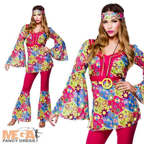Medallion 1960s Fancy Dress Hippie Ladies 60s-1970s Womens Costume Hippy Girl
