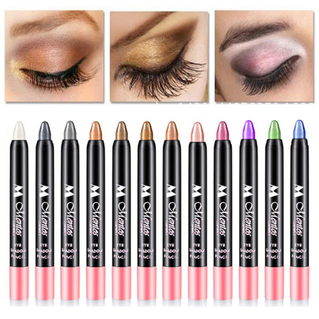 12 Colors Women Full Size Stick Eye Shadow Pencil Glitter Shimmer Makeup Pen