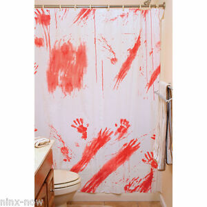 Image Is Loading Creepy Shower Curtain Bloody Halloween Party Decoration