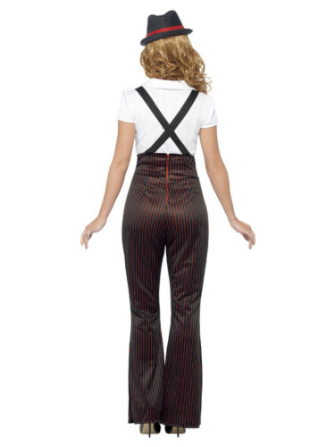 NEW 1920s Glam Gangster/'s Moll Ladies Fancy Dress Costume w// Trousers /& Hat